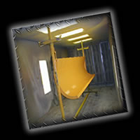 Our fully filtered powder coating spray booth!